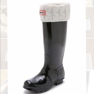 Hunter Cable Knitted Cuff Tall Boot Socks